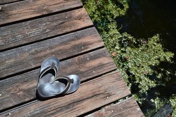 Brown Leather Flip Flops On Brown Dock (Green Water)