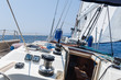 Sailing yacht going fast on full sails