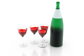 3d render of  glasses and bottles of alcohol.