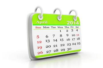 3d illustration of Calendar 2014