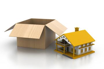 House with cardboard box .