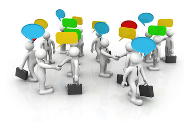 3d business people are discussed,