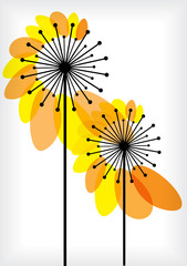 vector dandelions silhouettes with transparent leaves