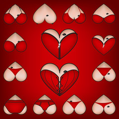 Set of symbols, Heart with lingerie, vector