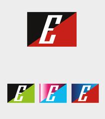Rectangular logo with letter E