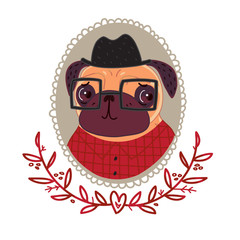 Pug-hipster in a red plaid shirt and glasses