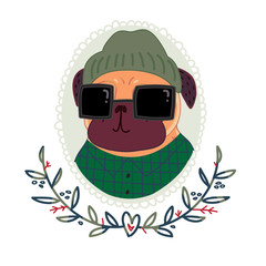Fashionable pug-hipster in sunglasses