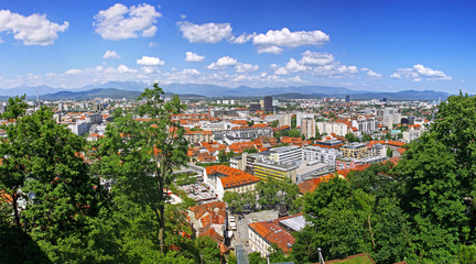 Panoramic view of Ljubljana, Slovenia