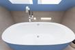 Blue bathtub in bathroom