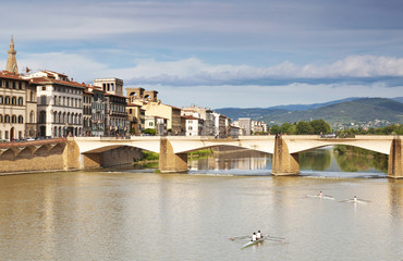 The Bridge Of Santa Trinita over the Arno river in Florence