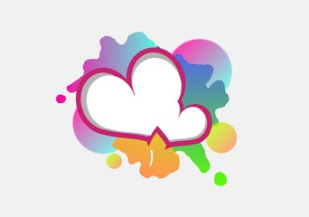 Two white hearts on colorful blots