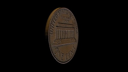 Old US 1 Cent Realistic Video, Black Background