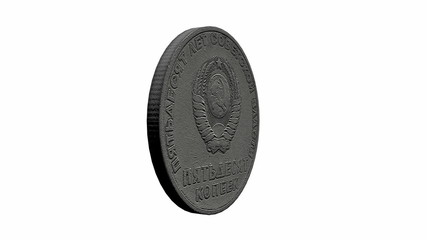 Old Soviet Union Coin with Lenin, Loopable Video
