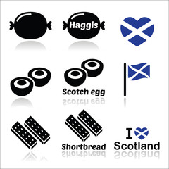 Scottish food - Haggis, Scotch egg, Shortbread icons set