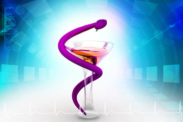 Medical symbol - snake with glass on  background