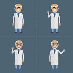 Old doctor indicates in various poses