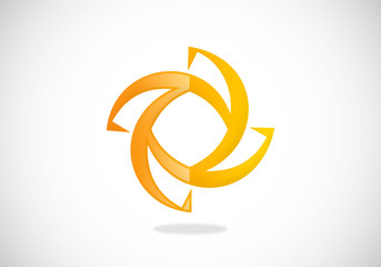 business connect circle abstract vector logo
