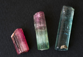 Tourmaline from Brazil. Longest is 3.3cm long.