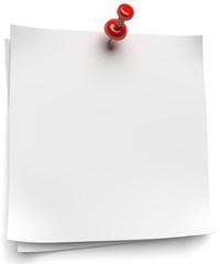 weisse Notizblätter mit roter Pinnadel