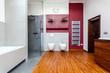 Interior of wooden bathroom