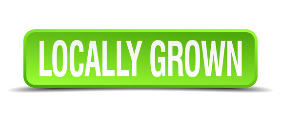 locally grown green 3d realistic square isolated button