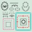 set of vintage floral frame and element for design