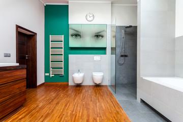 Modern bathroom with cyan elements