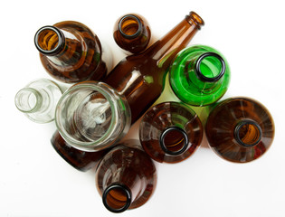 Glass bottles and jars for recycling.