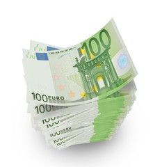 pile of euro banknotes on white background