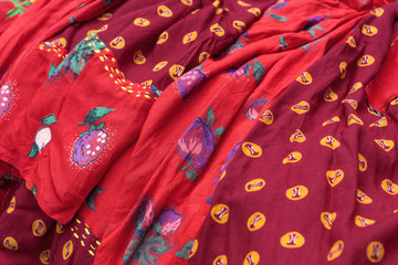 Detail of traditional gypsy dresses fabrics