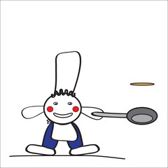 Cheerful man cook on white background
