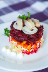 Russian traditional herring salad