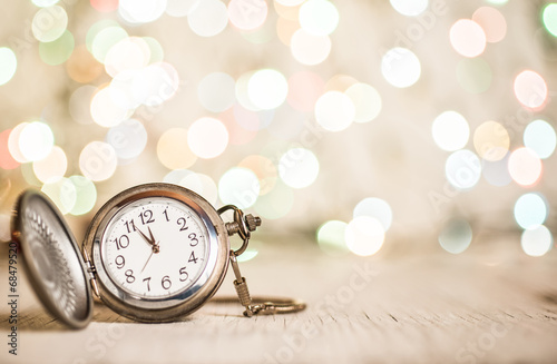 Leinwanddruck Bild New year clock abstract backgroun