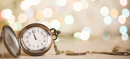 New year clock midnight