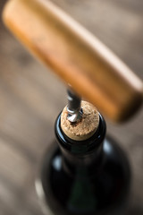 Opening bottle wine celebration