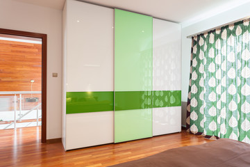 Green and white wardrobe
