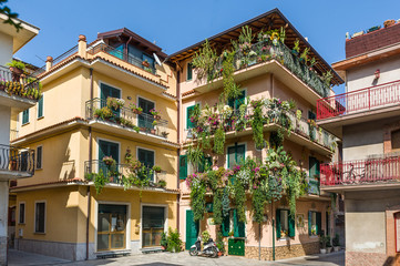 Traditional Sicilian houses decorated by flowers