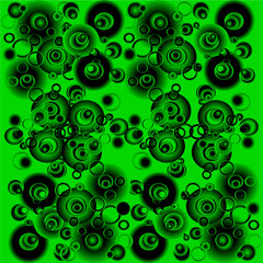 Black and green abstract background with circles