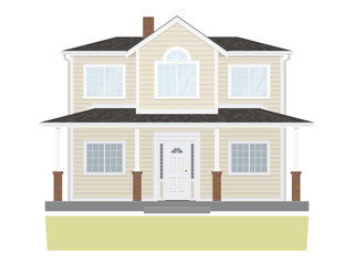 Suburban Family Home Vector Illustration
