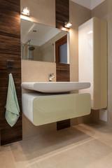 Modern bathroom with porcelain sink