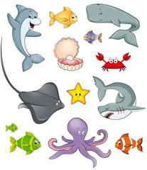 Meerestiere Fische Sammlung Set Kollektion