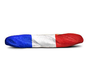 French baguette sandwich in the form of a flag, funny