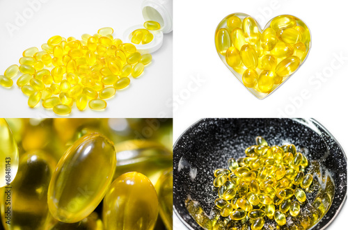 set four of fish oil closed up - 68481143