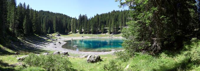 Panoramic photo of Lake Karersee - Trentino Alto Adige - Italy