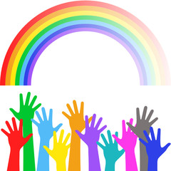 Multicolored hands on background of the colorful rainbow