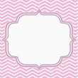 Pink and White Chevron Frame with Embroidery Background