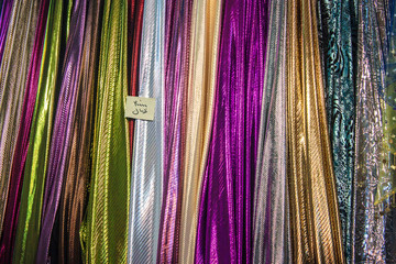 Colorful  fabric in a bazaar in Iran