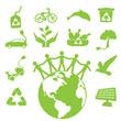 Ecology green icon set 4