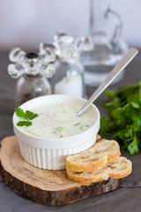 Okroshka - Russian Cold Soup with Vegetables
