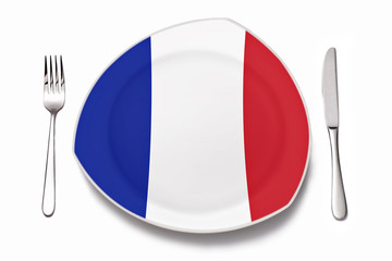 Teller mit französischer Flagge